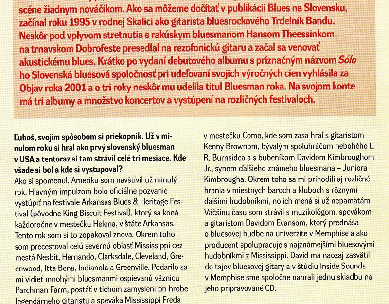 Slovenský bluesman Ľuboš Beňa v USA